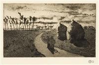 crépuscule avec meules (twilight with haystacks)crépuscule avec meules (twilight with haystacks) by camille pissarro