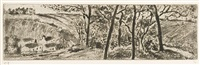 paysage en long (landscape panorama) by camille pissarro