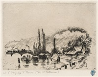 paysage a rouen (cote sainte-catherine) by camille pissarro