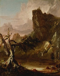 imaginary landscape with towering outcrop by thomas cole