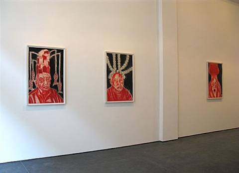 self-portrait in white, red and black i, ii, iii by francesco clemente