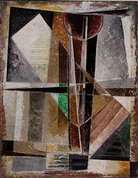 composition 132, in grey with vertical axis by werner drewes