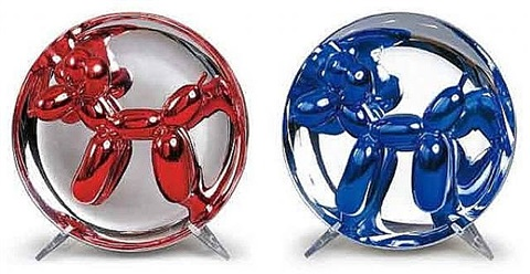 red & blue balloon dog set by jeff koons