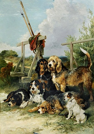 otter hounds and a terrier by a bridge - tired out by john emms