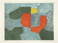composition verte, bleue, rouge et jaune by serge poliakoff