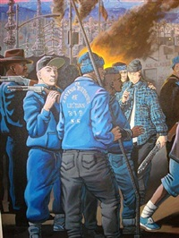 the truce between the crips and the bloods (detail 1) by sandow birk
