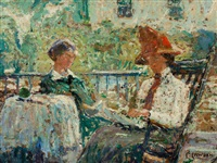 artist's wife and daughter on a porch by ernest lawson