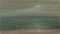 seashore (moonrise over the sea) by leon dabo