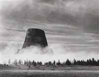 rising fog – devils tower, wy, 1988 by bob kolbrener