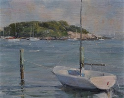 dinghy and view of tuxis (sold) by karen blackwood