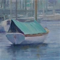 dinghy in the fog (sold) by karen blackwood