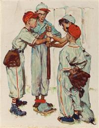 choosing up (four sporting boys: baseball), preliminary brown & bigelow four seasons calendar illustration, spring by norman rockwell