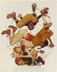 first down (four sporting boys: football), preliminary brown & bigelow four seasons calendar illustration, fall by norman rockwell