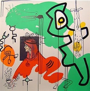 pop art accrochage at fluegel-roncak gallery by keith haring