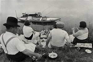 picnic on the banks of the marne, france by henri cartier-bresson