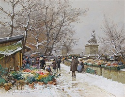 un coin de quai, paris by eugène galien-laloue