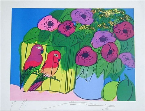 parrots with flowers by walasse ting