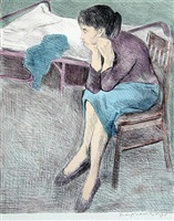 seated woman blue skirt by raphael soyer