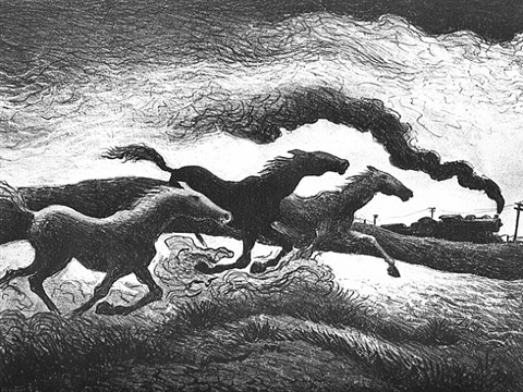 running horses by thomas hart benton