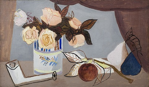 still life with flowers, fruit and clay pipe by christopher wood