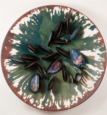 plate with clams by adriana varejão