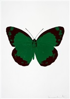 the souls ii – emerald green/burgundy/blind impression by damien hirst