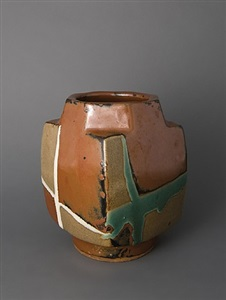 square form vase, kaki glaze by shoji hamada