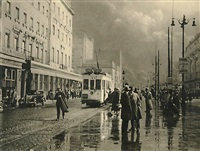 rainy street with tram in brussels, belgium by léonard misonne