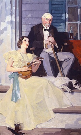 concert on the steps of a plantation - study by norman rockwell