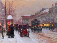 boulevard de la madeleine in winter by edouard léon cortès