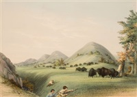 north american indian portfolio, buffalo hunt, approaching in a ravine (plate 11) by george catlin