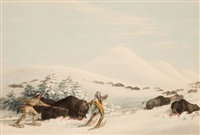 north american indian portfolio, buffalo hunt, on snow shoes (plate 15) by george catlin