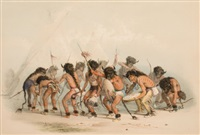 north american indian portfolio, buffalo dance (plate 8) by george catlin