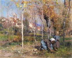 vue de chartèves à l'automne ou les derniers beaux jours by léon augustin l'hermitte