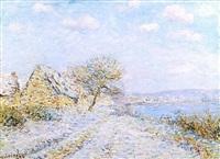tournedos-sur-seine, neige, givre, soleil (tournedos-sur-seine, snow, frost, sun) by gustave loiseau