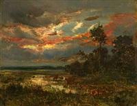 mare au crépuscule by théodore rousseau