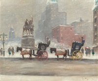 winter at the plaza by guy carleton wiggins