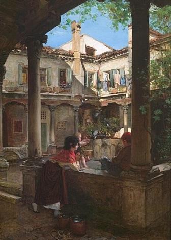 in the courtyard by antonio maria fabres y costa