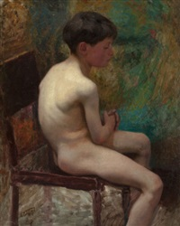 a young boy (seated boy) by edward henry potthast