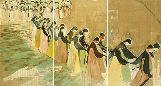 ganggangsullae (triptych) by jane park wells