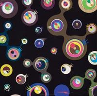 jellyfish eyes - black 1, 2, 3, 5 (four works) by takashi murakami