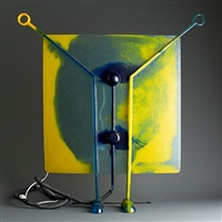 gaetano pesce gel resin and metal yellow and blue lamp on feet by gaetano pesce