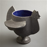 important glazed stoneware, black exterior and electric blue interior by françois-xavier lalanne
