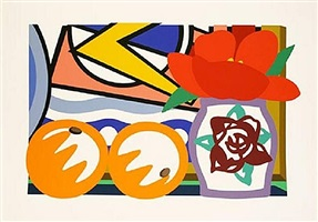 still life with lichtenstein & two oranges by tom wesselmann