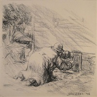 oh joy! he found a nail loose behind a cellar window by john french sloan