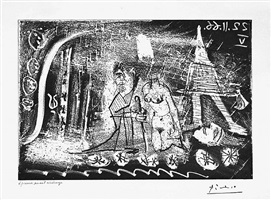 au theatre: femme decapitee par un bourreau, et viellard, from the 60 series, 22 november 1966, v, mougins by pablo picasso