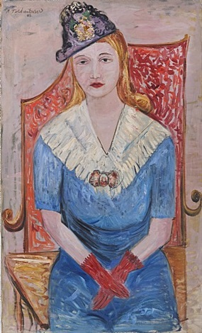 girl with red gloves by nahum tschacbasov