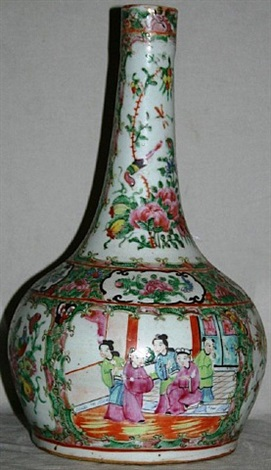 lot no. 1135: chinese rose medallion porcelain bottle