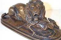 lion tenant un quib by antoine-louis barye