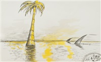 untitled (palm tree & shark fins) by horace clifford westermann